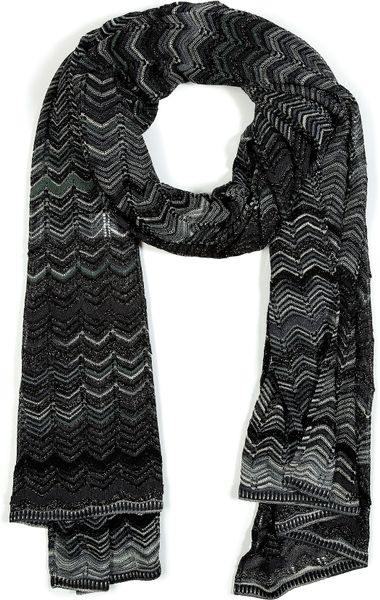 Missoni Charcoalfir Green Metallic Variegated Knit Scarf in Gray (charcoal) - Lyst