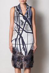 Missoni Branch Print Sequinhem Dress in Blue (grey) - Lyst