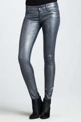 Mother Denim The Looker Stone Blue Glimmer Skinny Jeans - Lyst