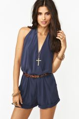 Nasty Gal Shadow Wrap Romper Navy - Lyst