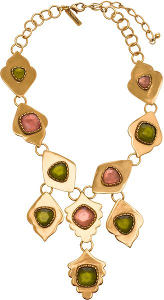 Oscar de la Renta Multi Link Green and Pink Necklace - Lyst