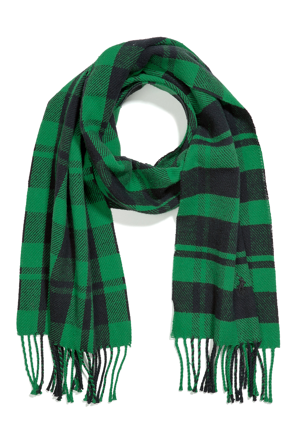 Polo ralph lauren Green and Black Plaid Cotton Scarf in Green for ...