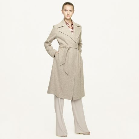 Ralph Lauren Black Label Woven Wool Tweed Harper Coat in Gray (crema stone) - Lyst