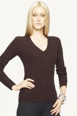 Ralph Lauren Black Label Mitered Vneck Cable Cashmere - Lyst