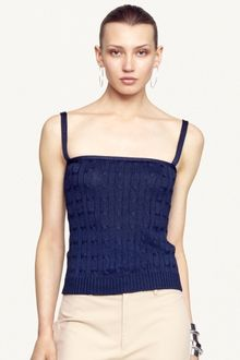 Ralph Lauren Black Label Cable Knit Silk Camisole - Lyst