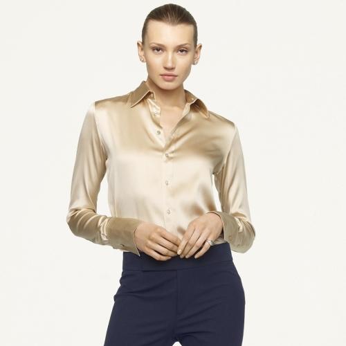 3835d5da1a Lyst - Ralph Lauren Black Label Rachel Silk Charmeuse Shirt in Natural