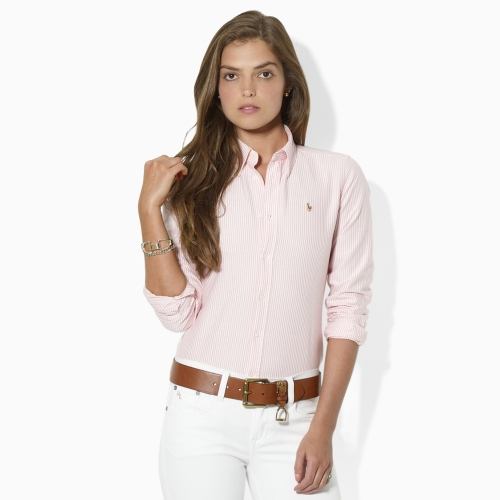 Lyst - Ralph Lauren Blue Label Striped Oxford Shirt in Pink 39d8948da