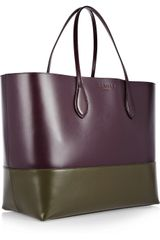 Rochas Two Tone Leather Tote in Purple - Lyst