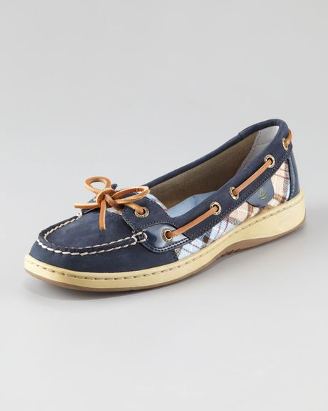 Sperry Top Sider Angelfish Plaid Detail Boat Shoe In Blue