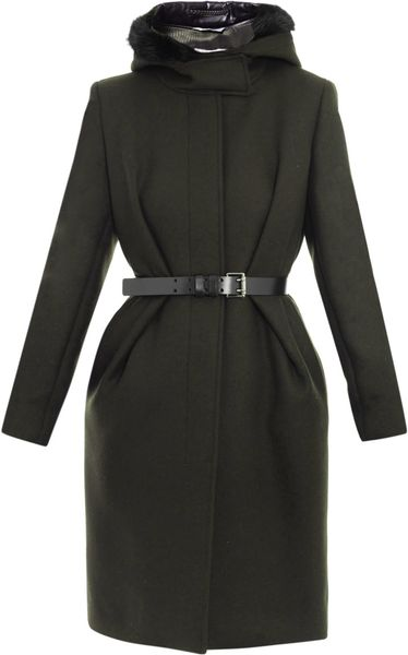 Sportmax Canard Wool Coat in Green (forest)