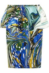 Stella McCartney Berkeley Printed Silkblend Peplum Skirt