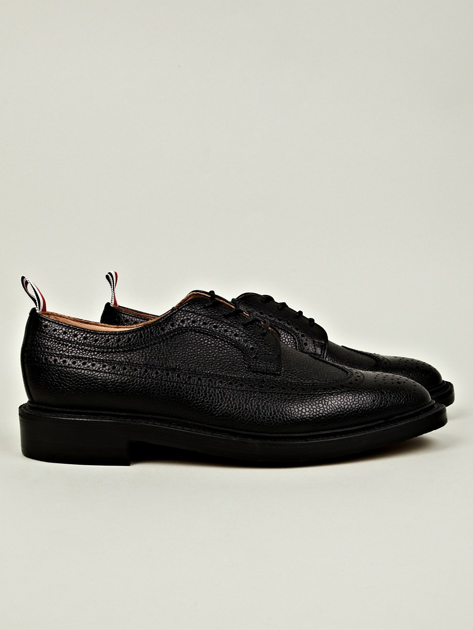 thom browne mens leather wingtip brogue in black for