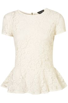 Topshop Lace Zip Back Peplum Top - Lyst