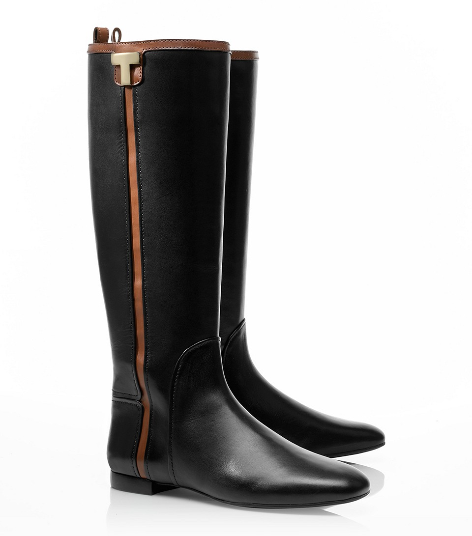 59e75b11a Tory Burch Erica Flat Riding Boot in Black - Lyst