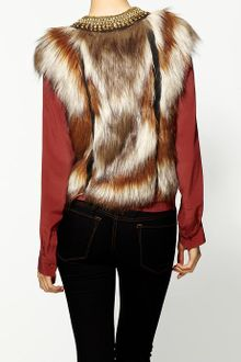 Twelfth Street by Cynthia Vincent Neck Beaded Fur Vest - Lyst