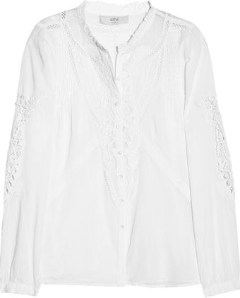 Vanessa Bruno Athé Cottonvoile Lace and Mesh Blouse - Lyst