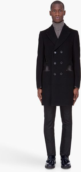 Yves Saint Laurent Black Leather Trim Coat - Lyst