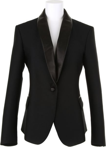 Saint Laurent Smoking Jacket in Virgin Wool in Black