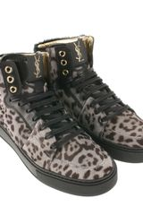 Saint Laurent Leopardprint Calfhair High Sneakers in Beige (leopard) - Lyst