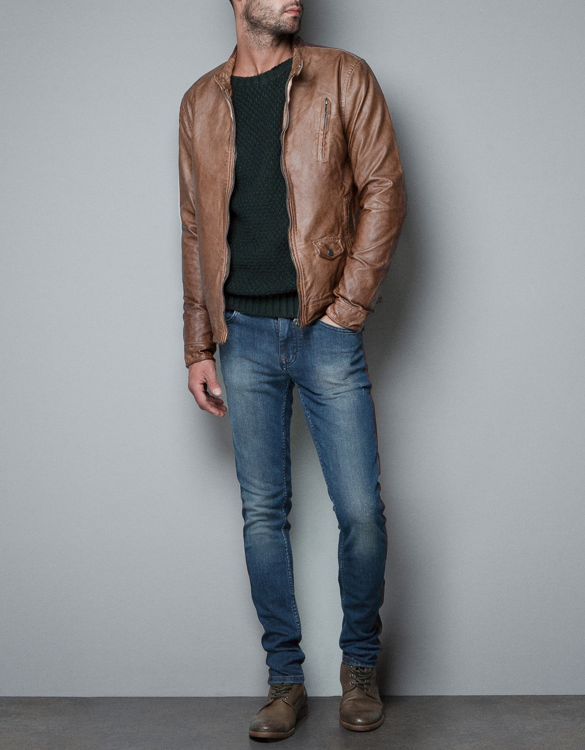 zara synthetic leather jacket in brown for lyst