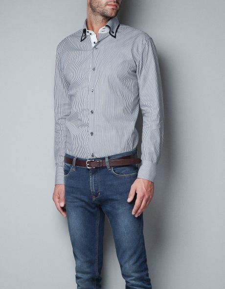 Zara Double Collar Shirt in Black for Men | Lyst