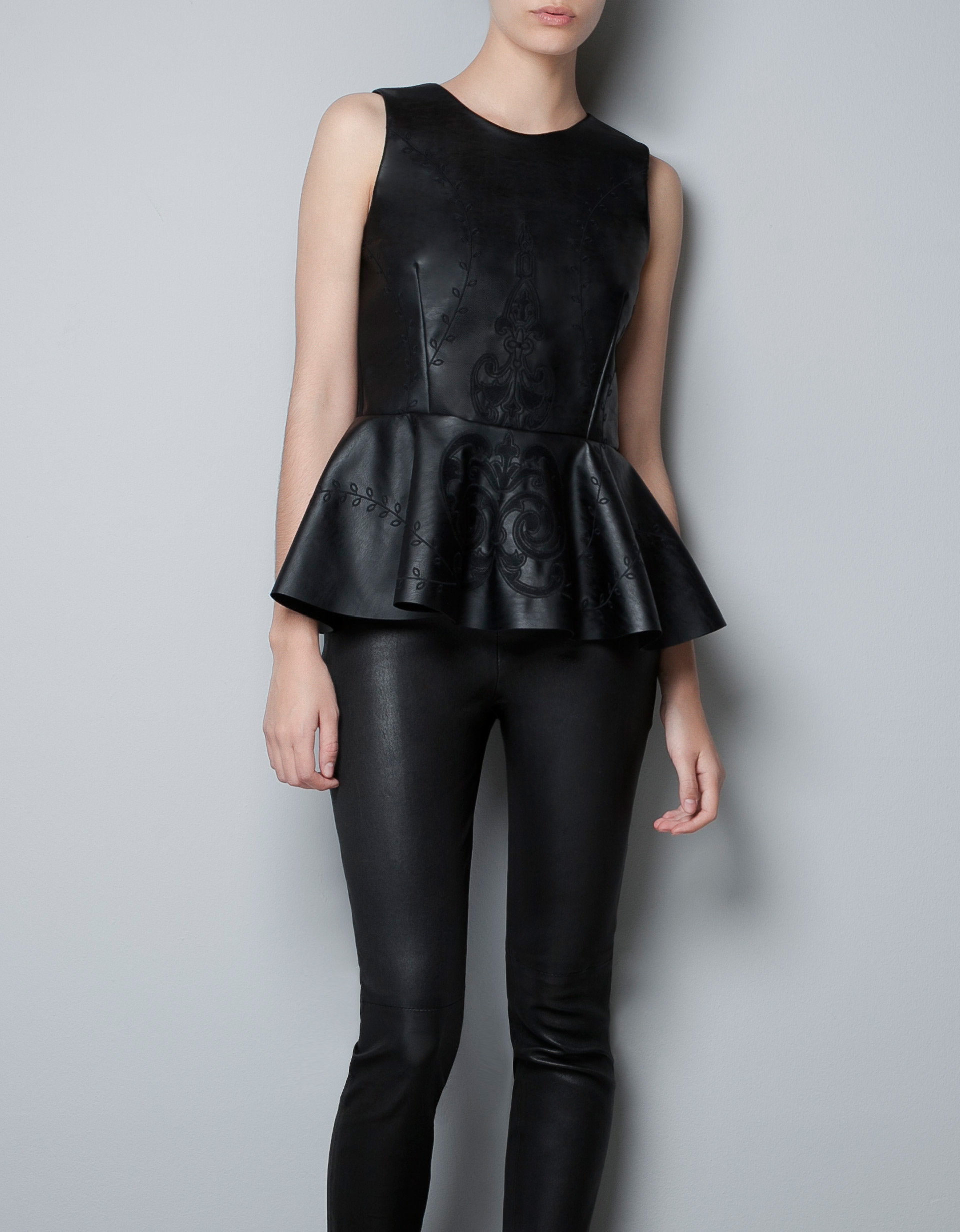 zara embroidered faux leather top with peplum frill in black lyst. Black Bedroom Furniture Sets. Home Design Ideas