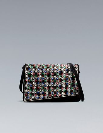 Zara Embroidered Messenger Bag with Mirrors - Lyst