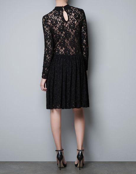 Zara Lace Dress In Black Lyst
