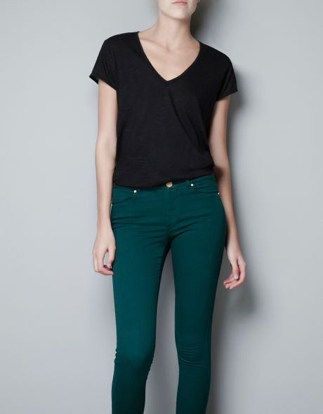 Zara Organic Cotton Tshirt in Black - Lyst