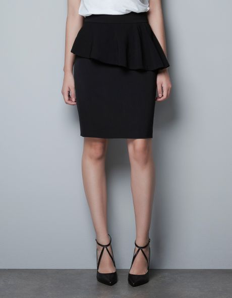 zara pencil skirt with frill at the waist in black lyst