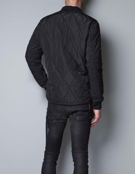 Zara Quilted Jacket In Black For Men Lyst
