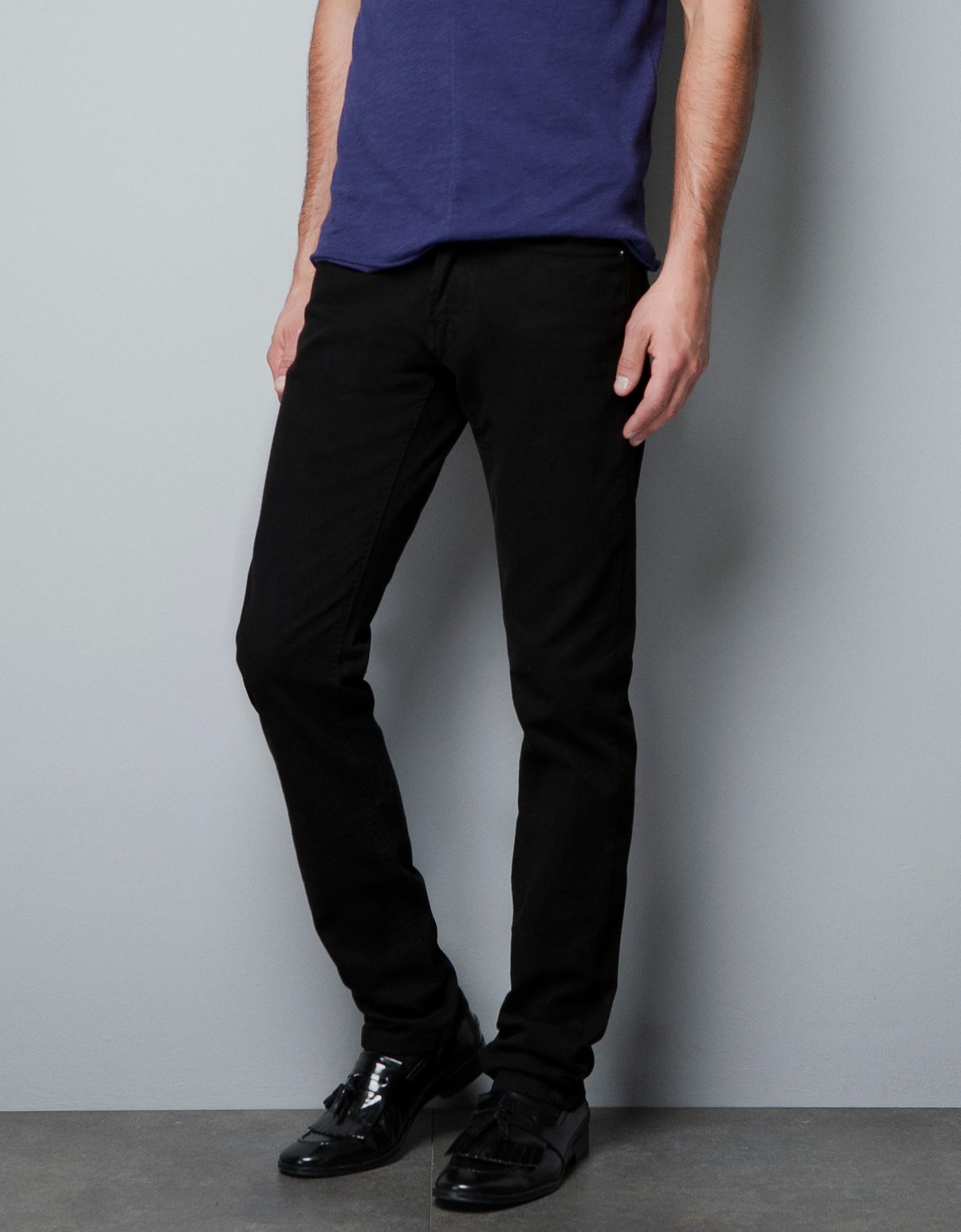 Zara Slim Fit Bulldenim Trousers in Black for Men | Lyst