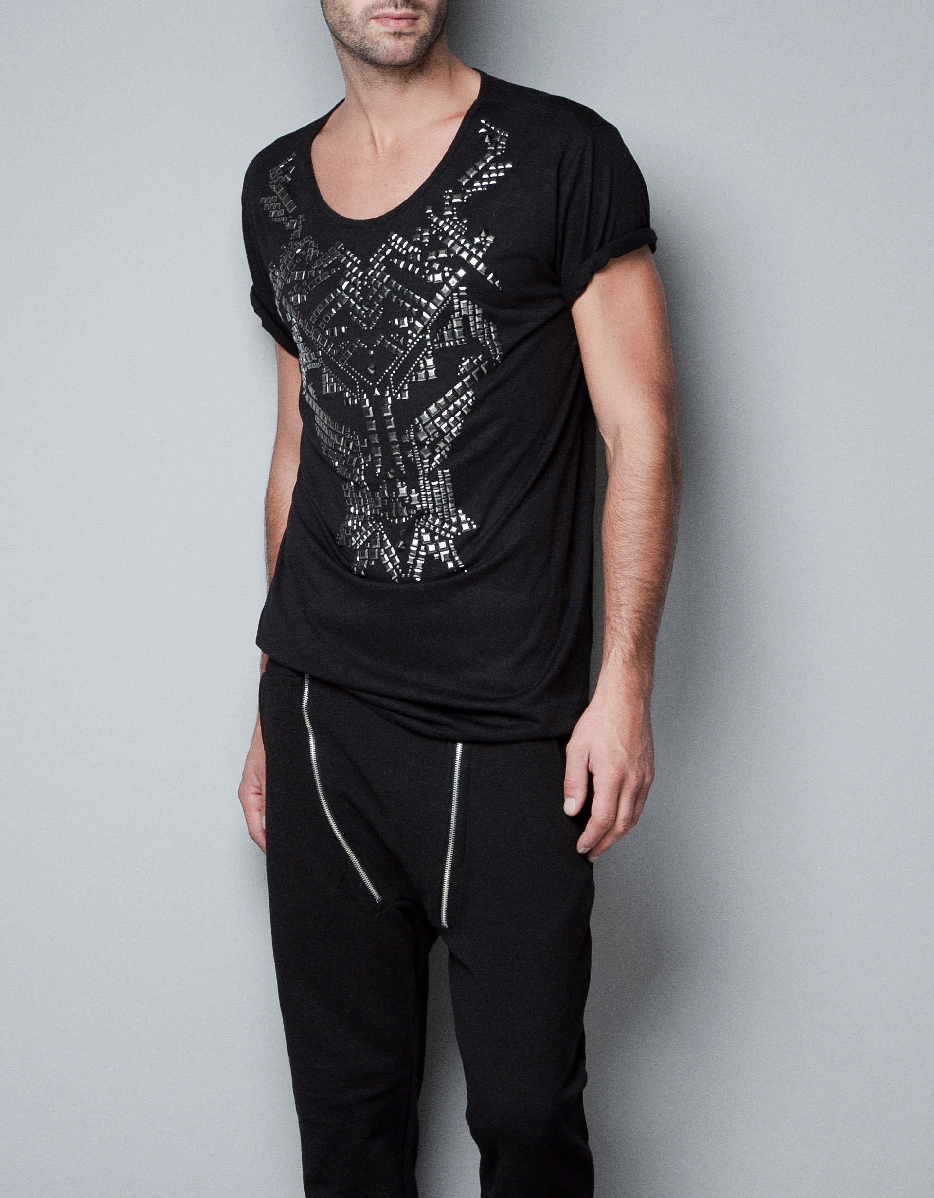 Zara Stud T-shirt in Black for Men | Lyst