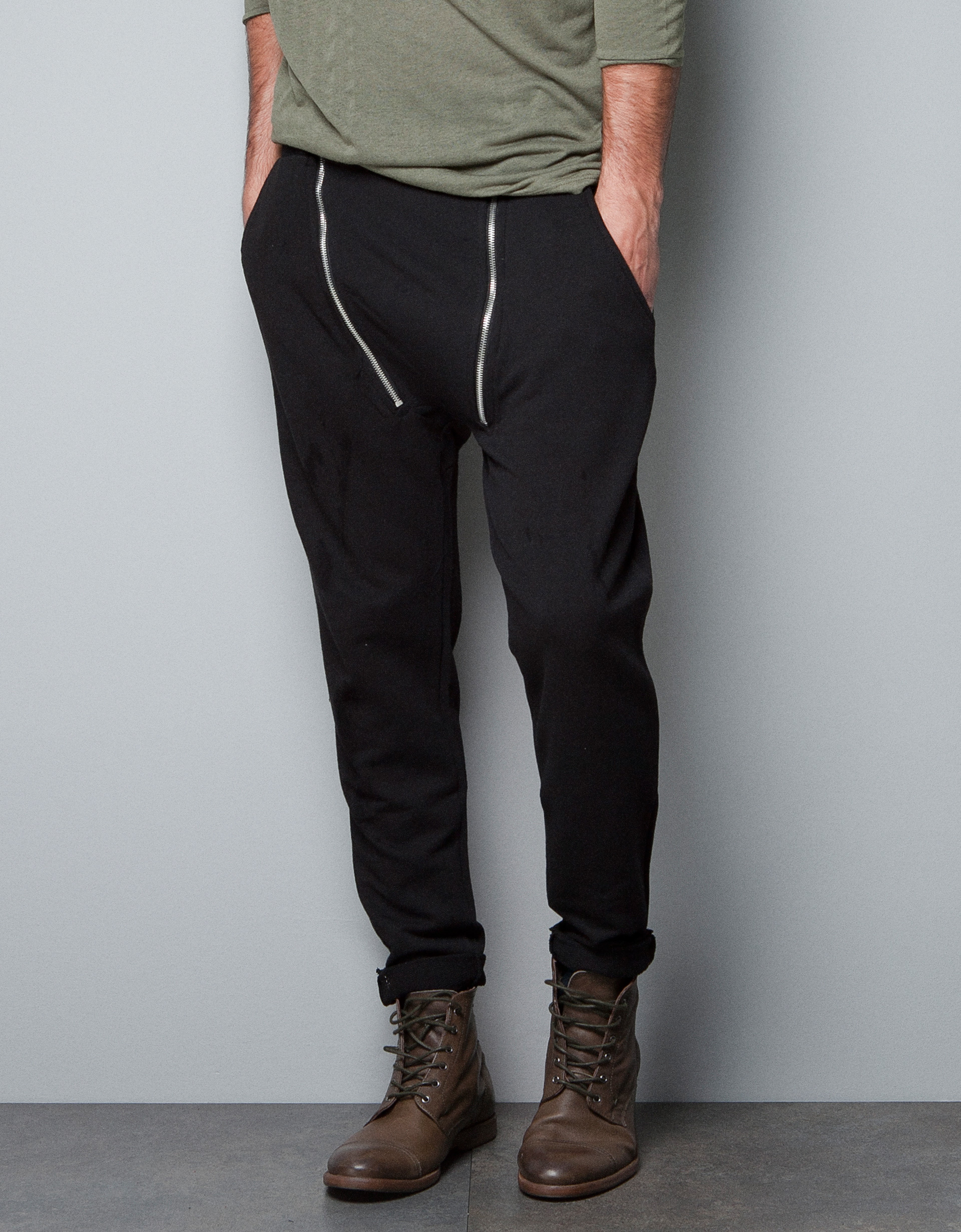 Zara Trousers with Zips in Black for Men | Lyst