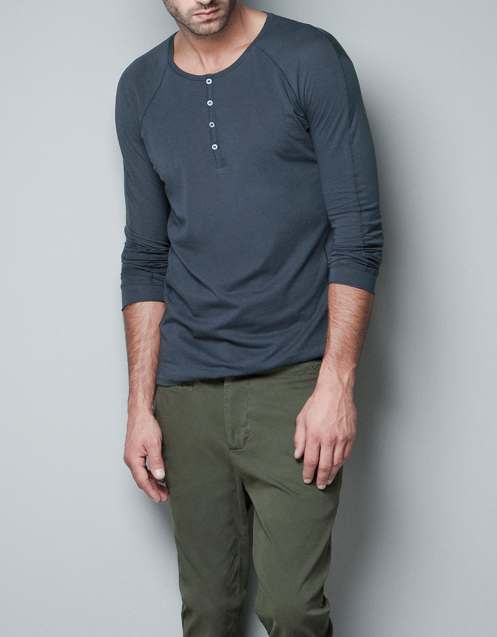 Zara button neck t shirt in blue for men lyst for Button collar t shirt