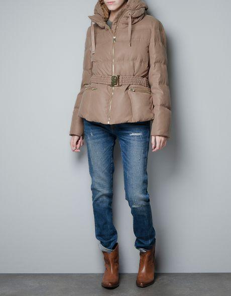 Zara Short Puffer Jacket in Fantasy Fabric in Beige (camel)