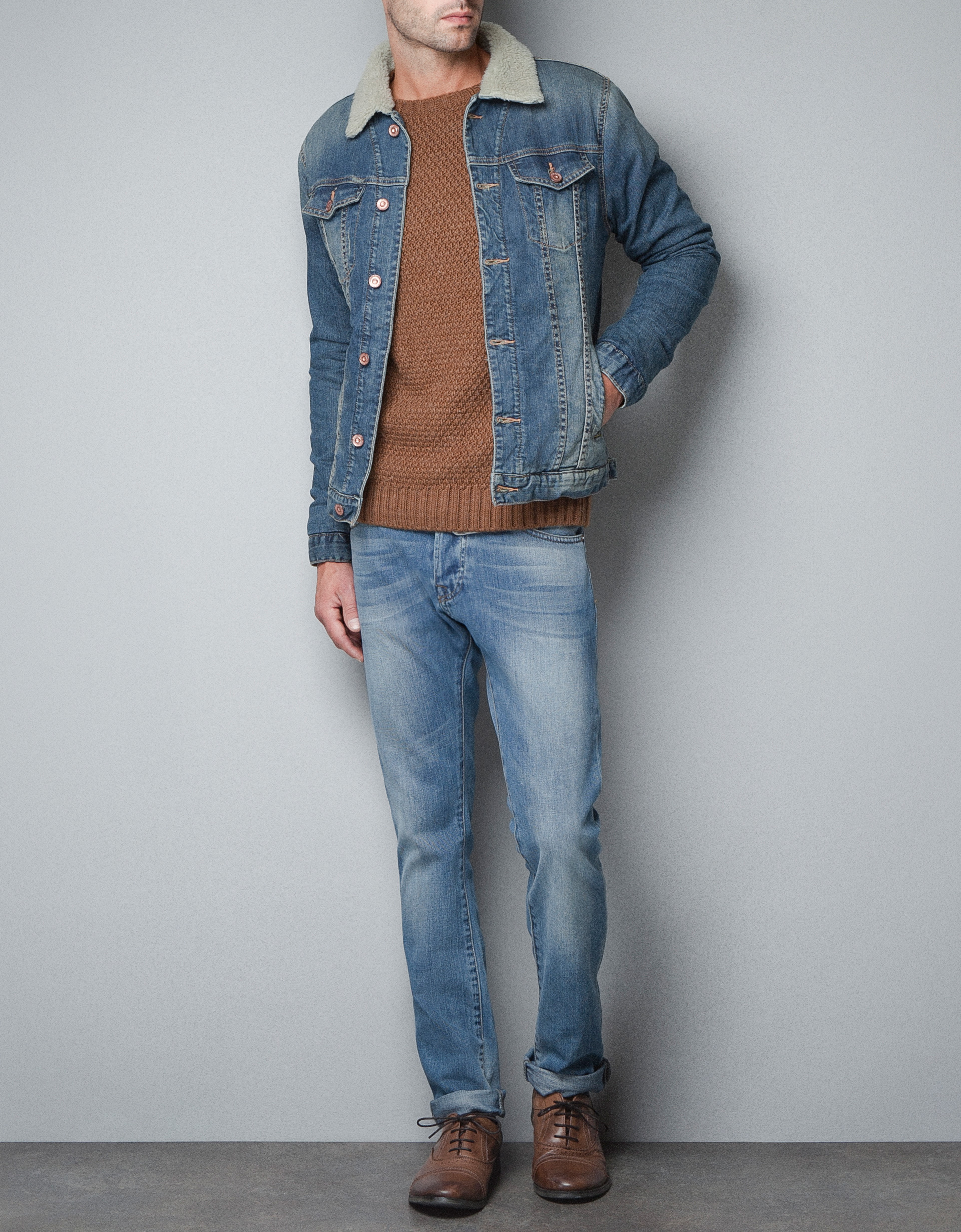 Zara Denim Sheepskin Jacket in Blue for Men | Lyst