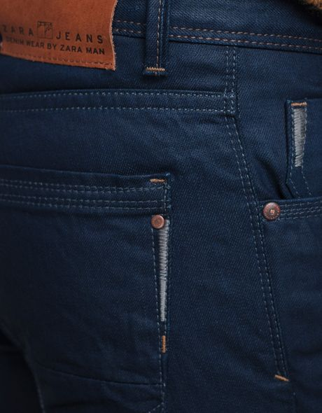 Zara jeans with embroidered coin pocket in blue for men