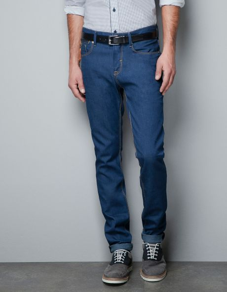 a9adb0ac Zara Jeans with Piping and Zip in Blue for Men (dark blue)