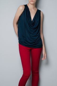 Zara Draped T-shirt with Chains - Lyst