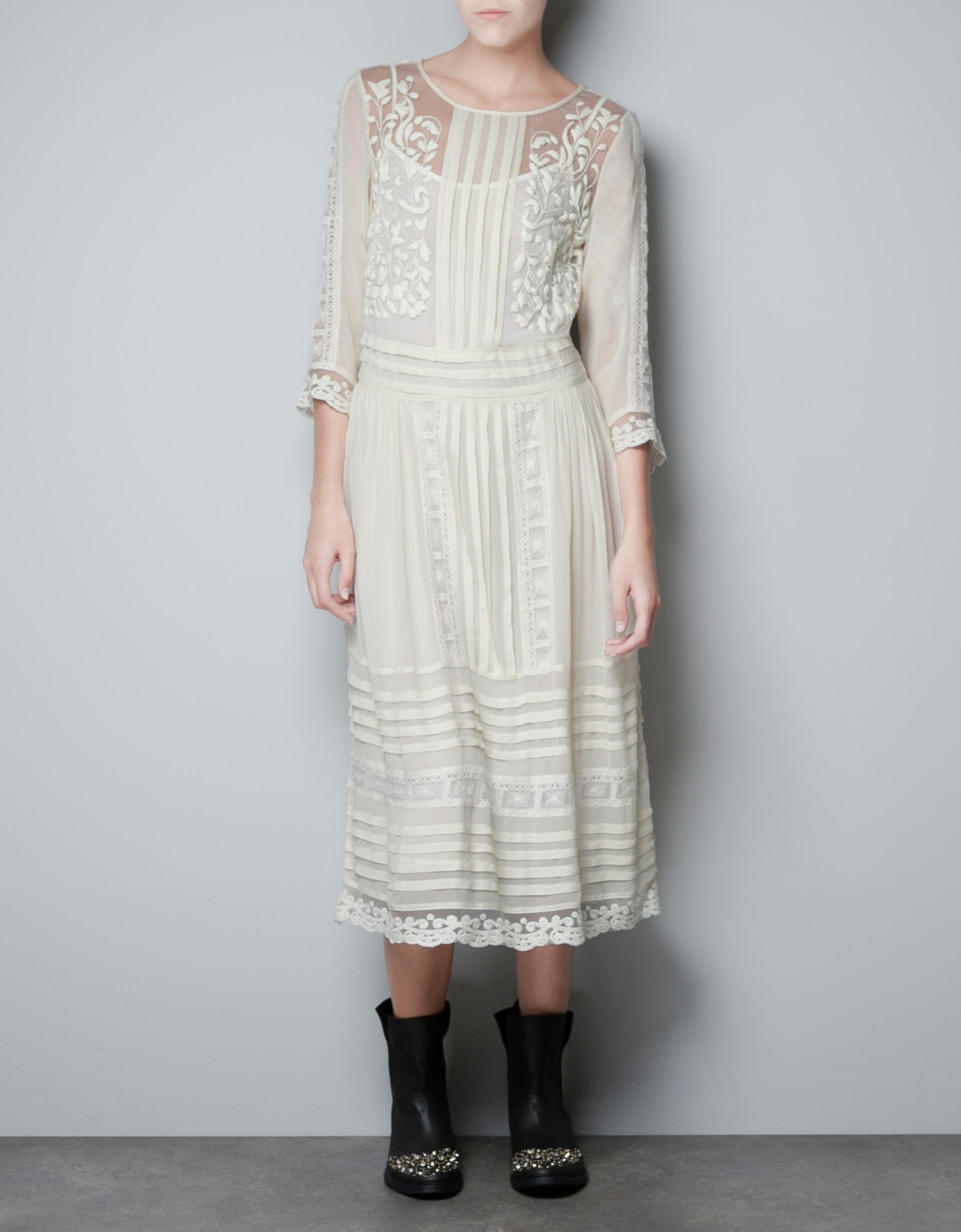 Zara Pin Tuck Embroidered Dress In White (ecru)   Lyst