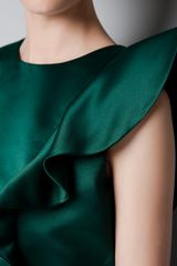 Zara Dress with Asymmetric Shoulder and Frill in Green (not available) - Lyst
