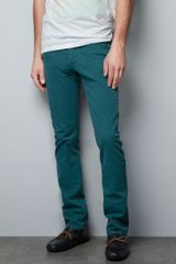Zara Slim Fit Bulldenim Trousers in Green for Men (emerald green) - Lyst