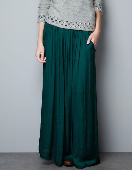 zara skirt with pockets in green lyst