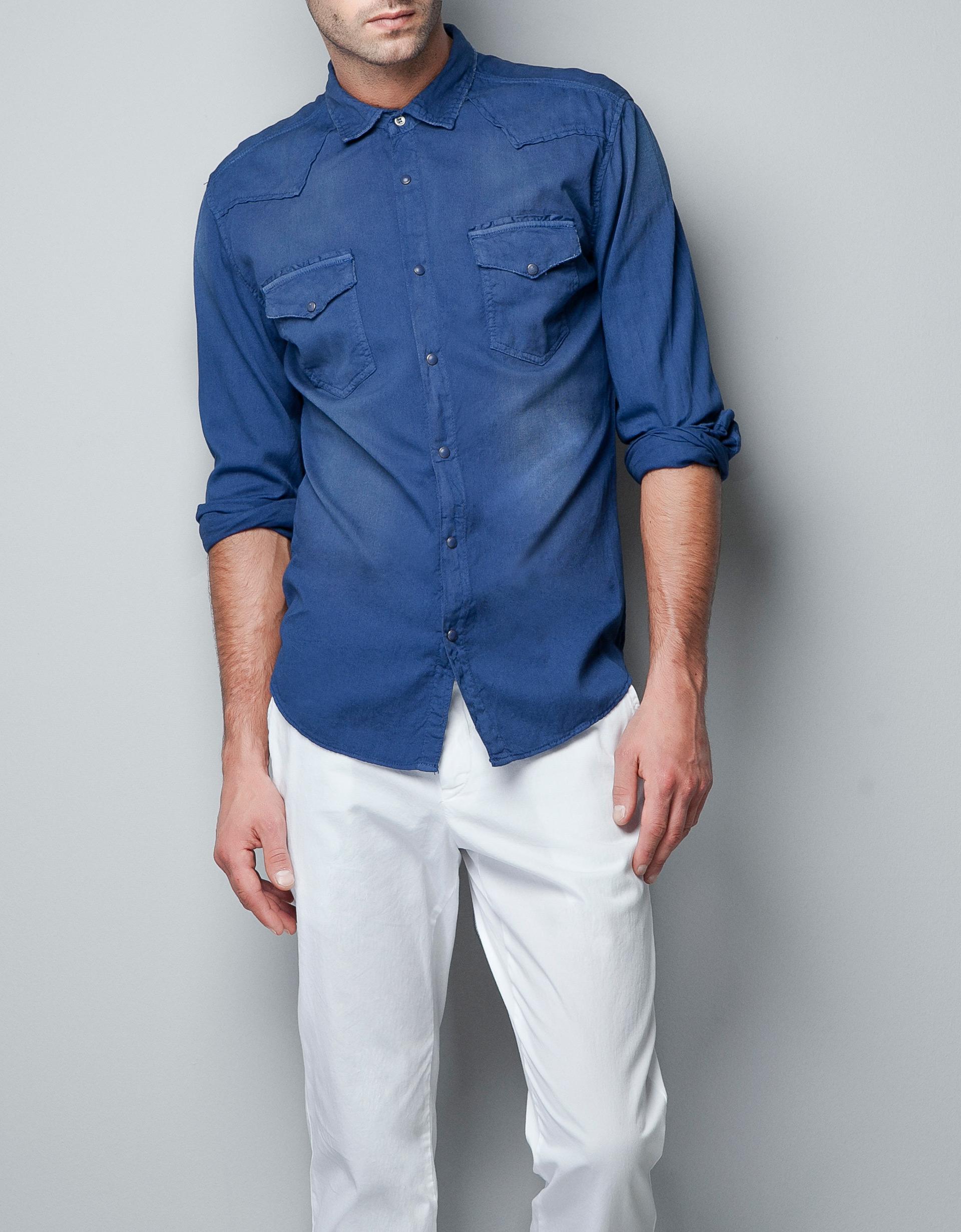 Zara structured denim shirt in blue for men indigo lyst for Zara mens shirts sale