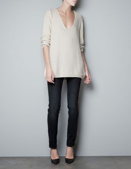 Zara Seed Stitch Jumper in Beige (natural) - Lyst