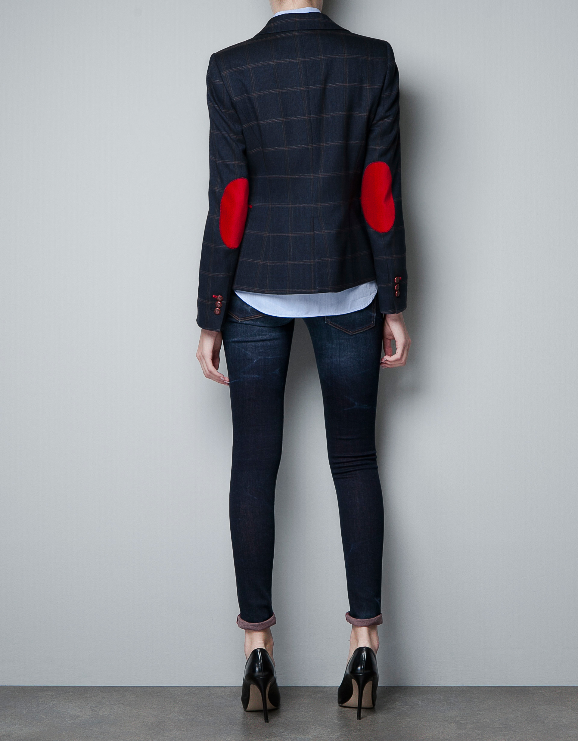 zara checked wool blazer with elbow patches in blue lyst. Black Bedroom Furniture Sets. Home Design Ideas