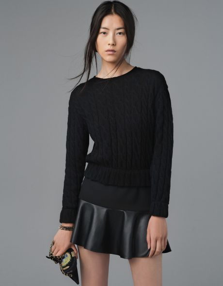 zara mini skirt with leather frill in black not available