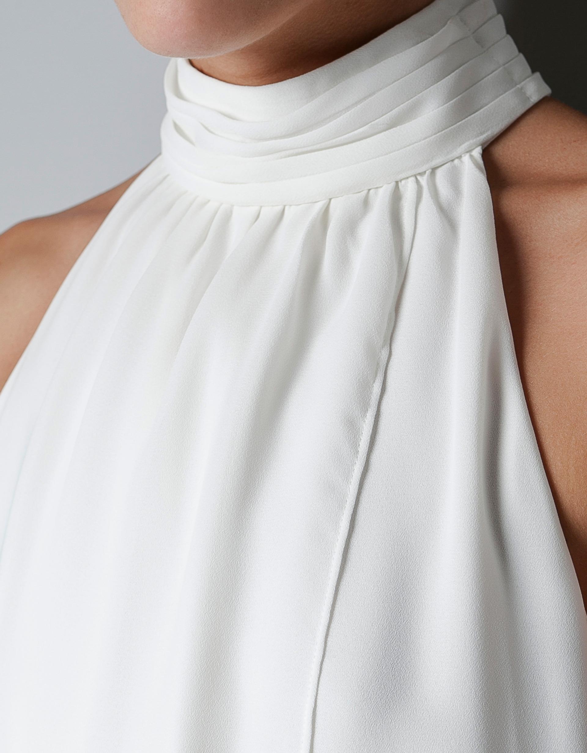 Zara Halter Collar Dress In White Lyst