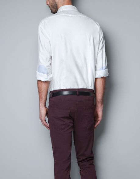 Zara Shirt With Elbow Patches And Contrast Detailing In